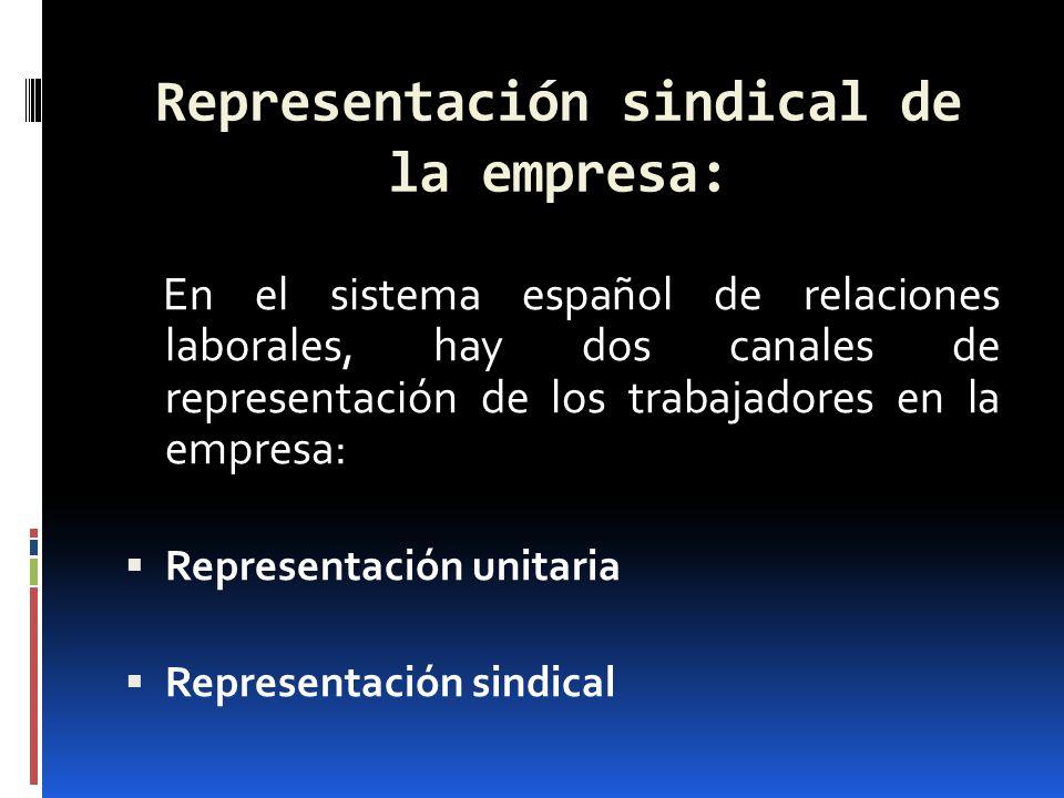 Representación sindical de la empresa: