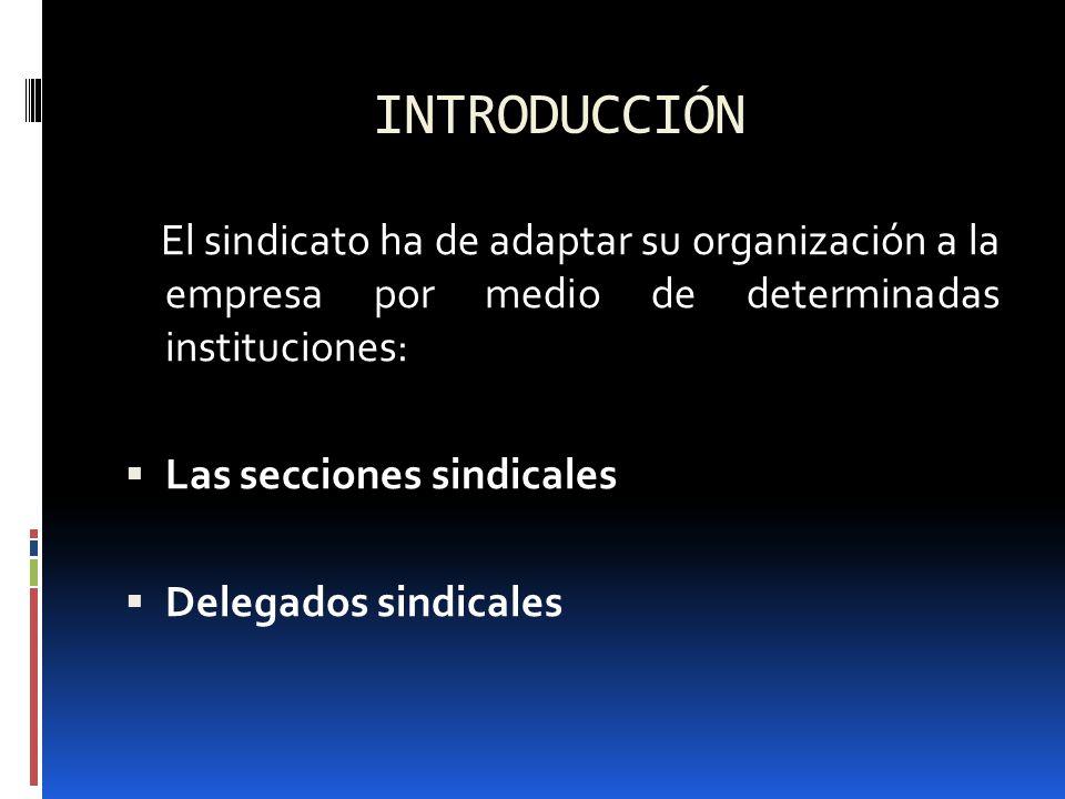 INTRODUCCIÓN El sindicato ha de adaptar su organización a la empresa por medio de determinadas instituciones: