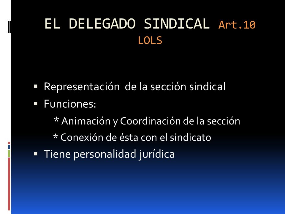 EL DELEGADO SINDICAL Art.10 LOLS