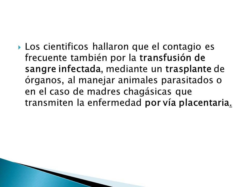Los cientificos hallaron que el contagio es frecuente también por la transfusión de sangre infectada, mediante un trasplante de órganos, al manejar animales parasitados o en el caso de madres chagásicas que transmiten la enfermedad por vía placentaria.