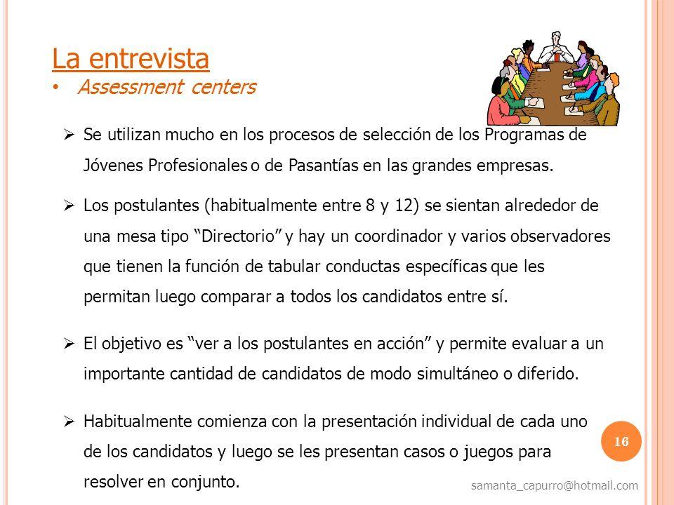 La entrevista Assessment centers