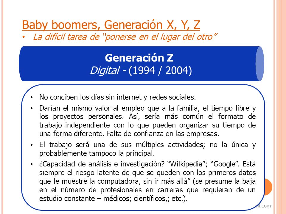 Baby boomers, Generación X, Y, Z