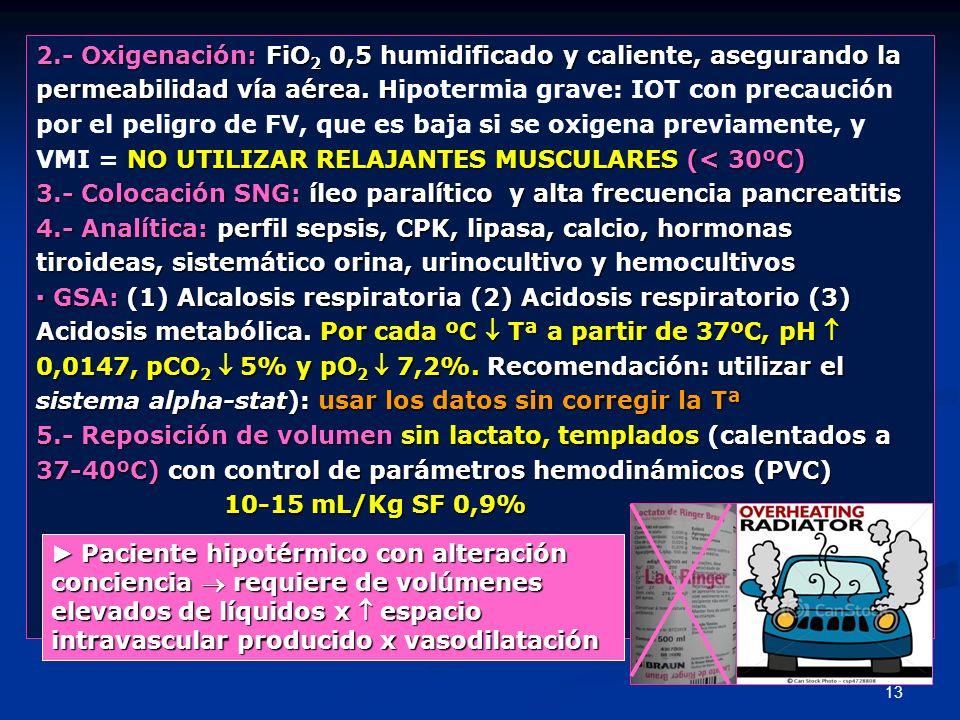 2.- Oxigenación: FiO2 0,5 humidificado y caliente, asegurando la