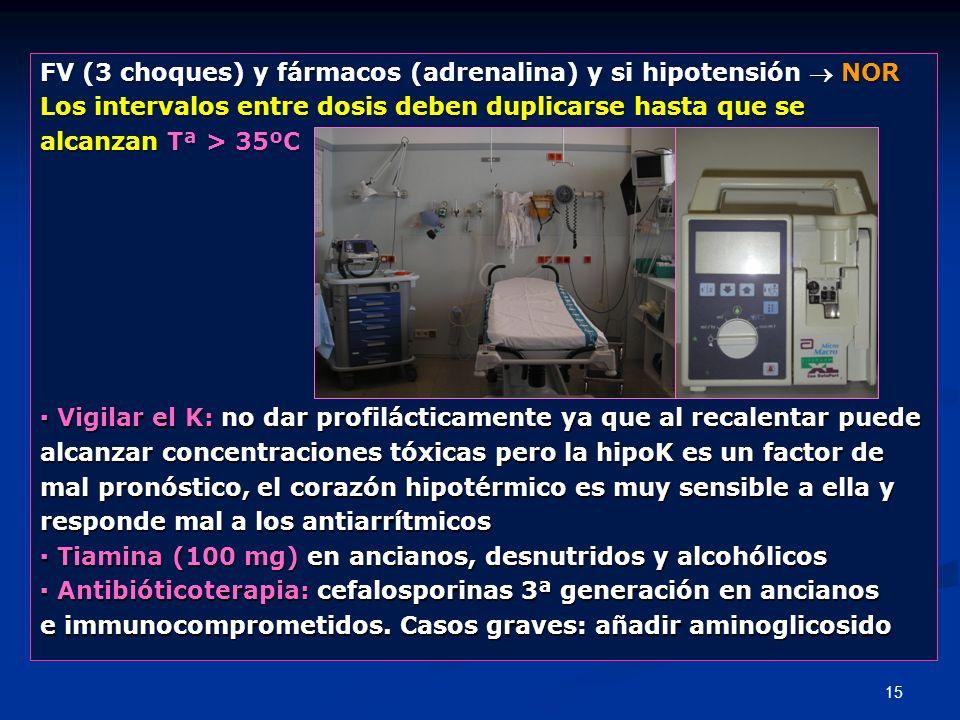FV (3 choques) y fármacos (adrenalina) y si hipotensión  NOR