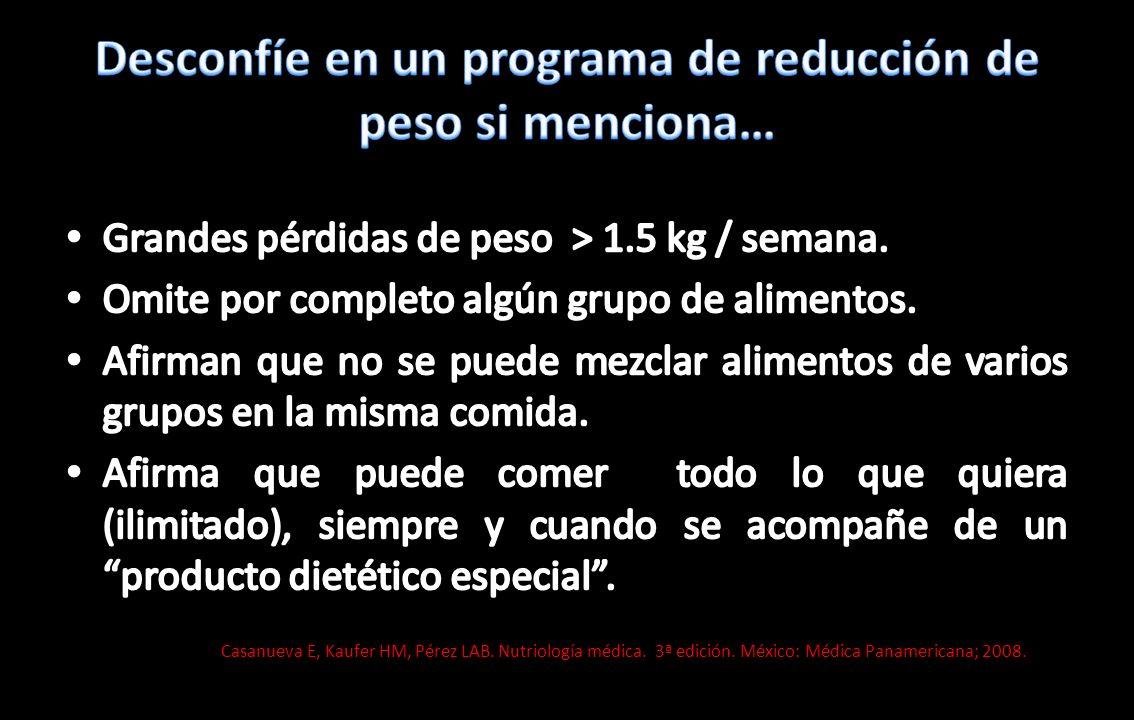 Desconfíe en un programa de reducción de peso si menciona…