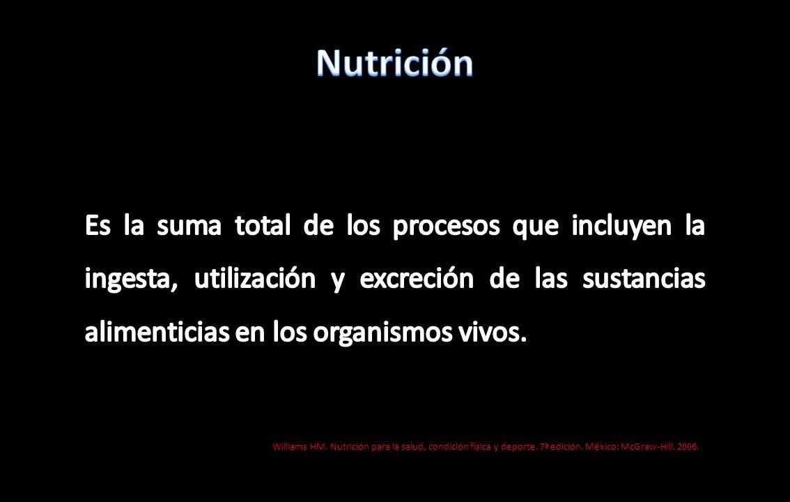 NutriciónEs la suma total de los procesos que incluyen la ingesta, utilización y excreción de las sustancias alimenticias en los organismos vivos.