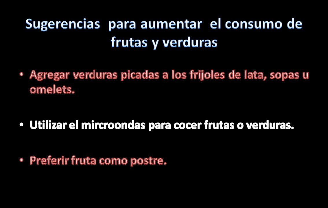 Sugerencias para aumentar el consumo de frutas y verduras