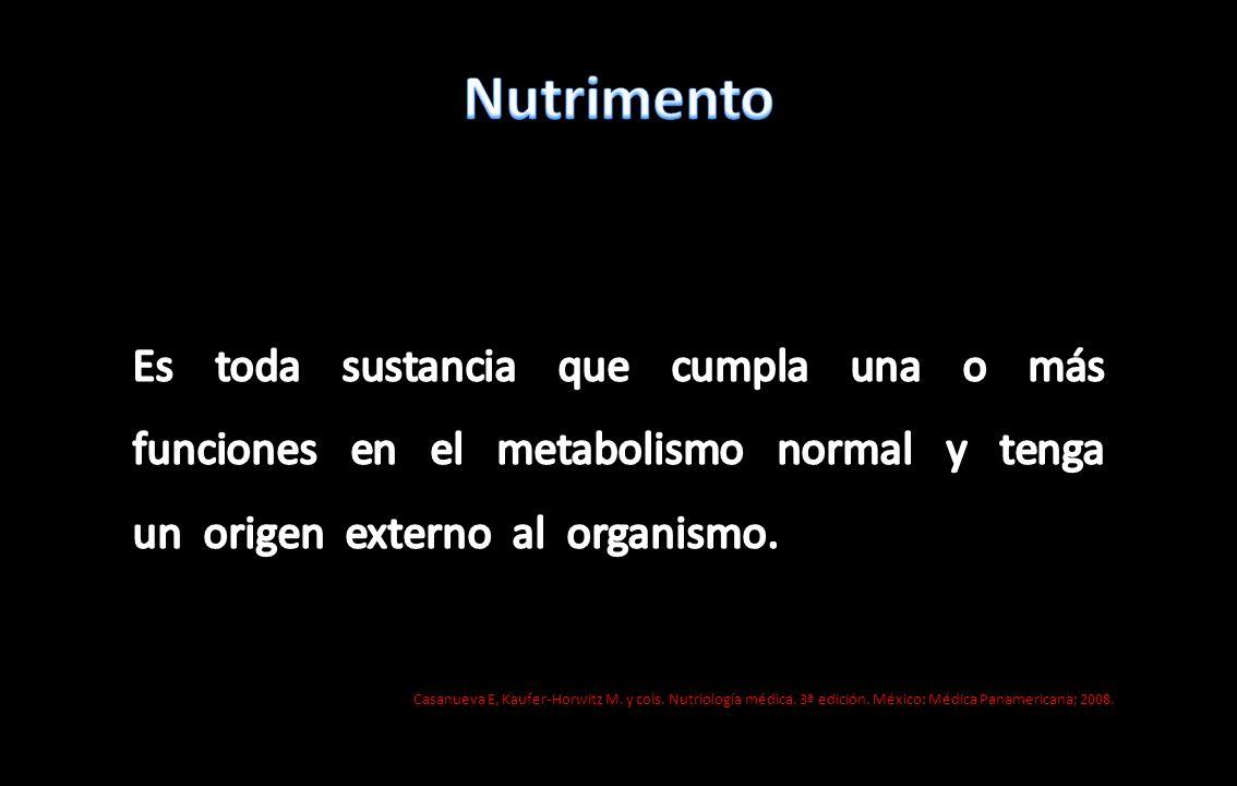 Nutrimento Es toda sustancia que cumpla una o más funciones en el metabolismo normal y tenga un origen externo al organismo.
