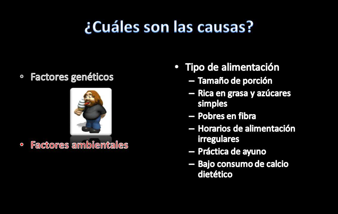 ¿Cuáles son las causas Tipo de alimentación Factores genéticos