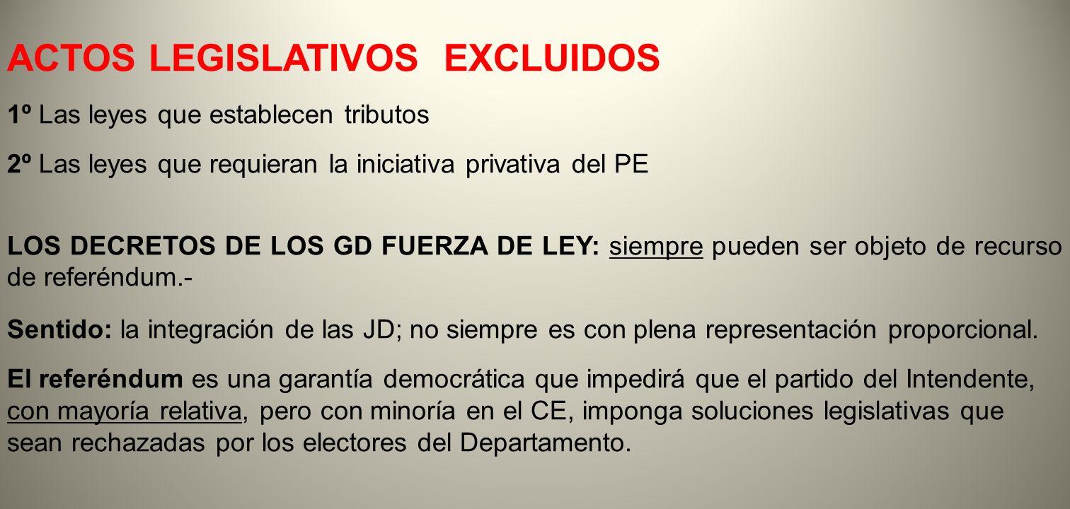 ACTOS LEGISLATIVOS EXCLUIDOS