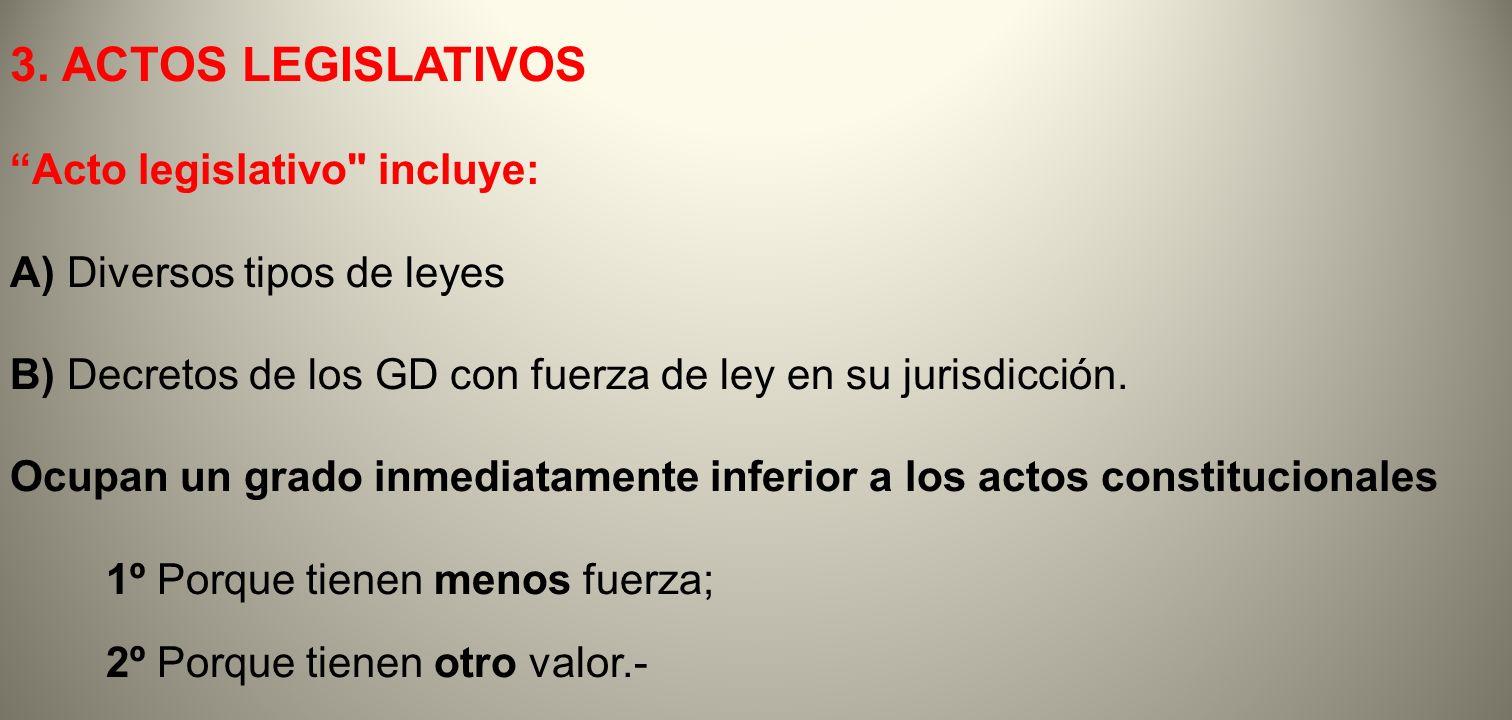 3. ACTOS LEGISLATIVOS Acto legislativo incluye: