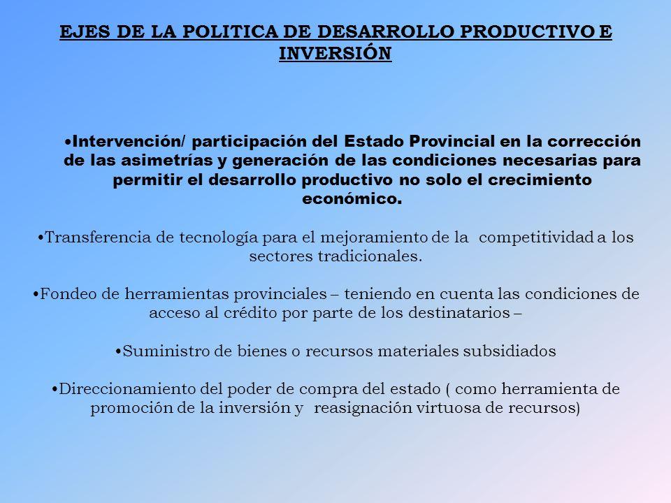 EJES DE LA POLITICA DE DESARROLLO PRODUCTIVO E INVERSIÓN