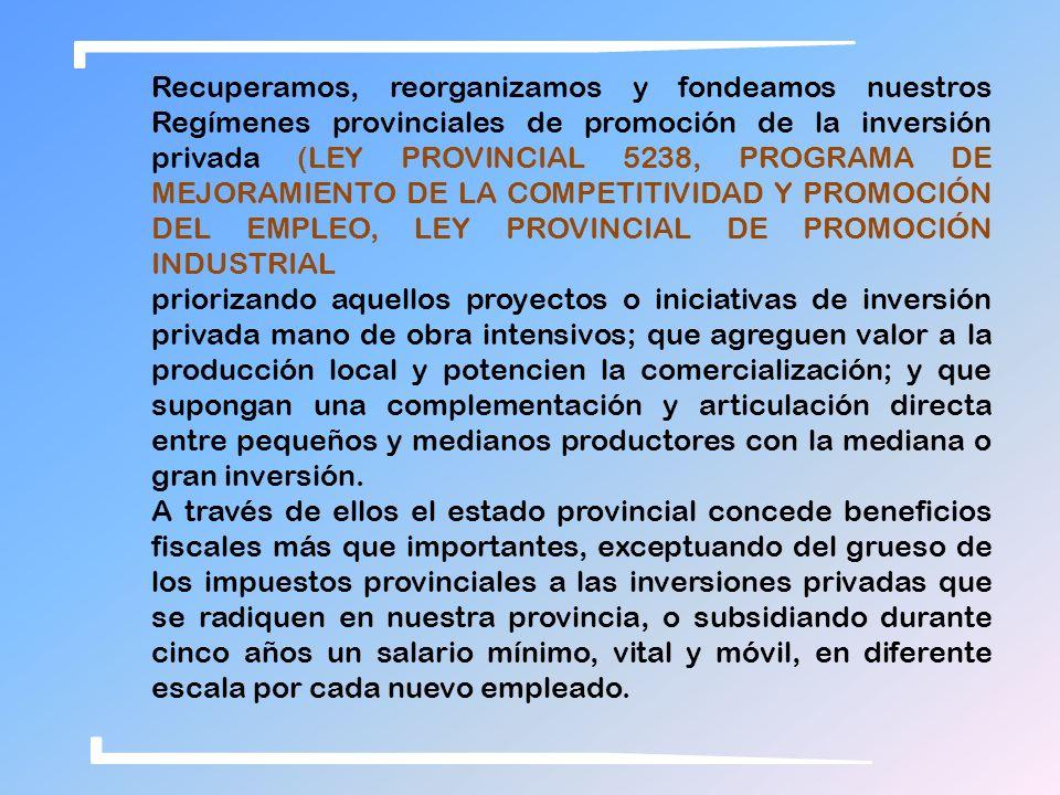 Recuperamos, reorganizamos y fondeamos nuestros Regímenes provinciales de promoción de la inversión privada (LEY PROVINCIAL 5238, PROGRAMA DE MEJORAMIENTO DE LA COMPETITIVIDAD Y PROMOCIÓN DEL EMPLEO, LEY PROVINCIAL DE PROMOCIÓN INDUSTRIAL