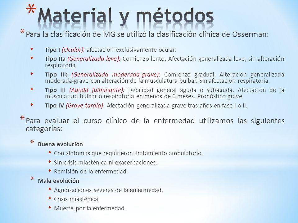 Material y métodos Para la clasificación de MG se utilizó la clasificación clínica de Osserman: Tipo I (Ocular): afectación exclusivamente ocular.