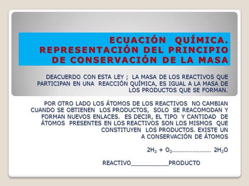 ECUACIÓN QUÍMICA. REPRESENTACIÓN DEL PRINCIPIO DE CONSERVACIÓN DE LA MASA