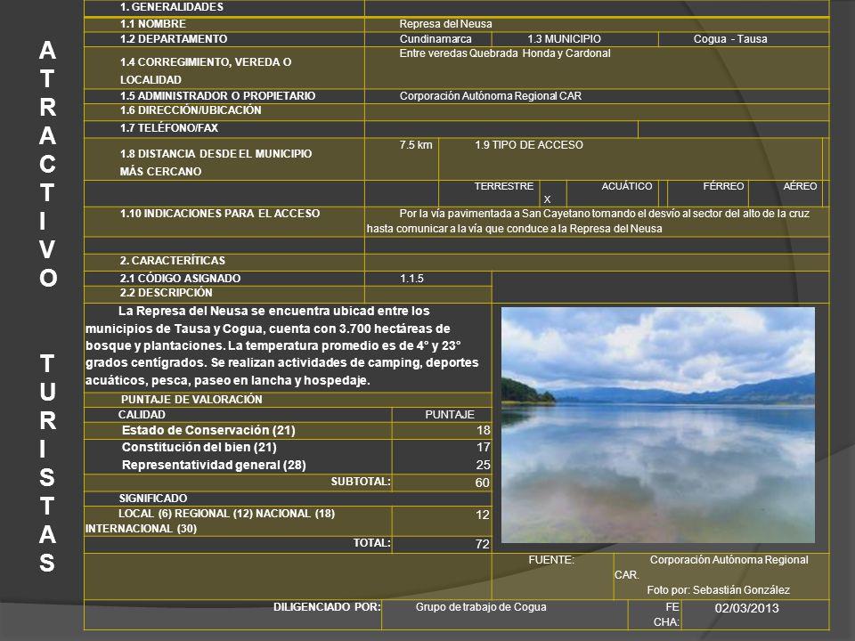 1. GENERALIDADES 1.1 NOMBRE. Represa del Neusa. 1.2 DEPARTAMENTO. Cundinamarca. 1.3 MUNICIPIO.