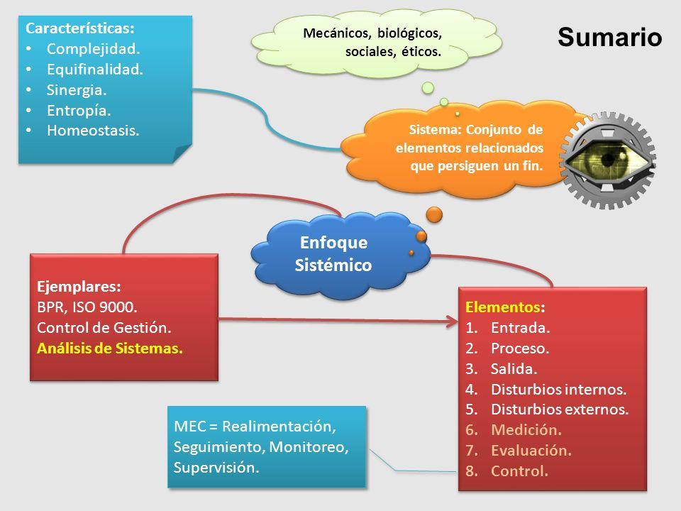 Sumario Enfoque Sistémico Características: Complejidad. Equifinalidad.