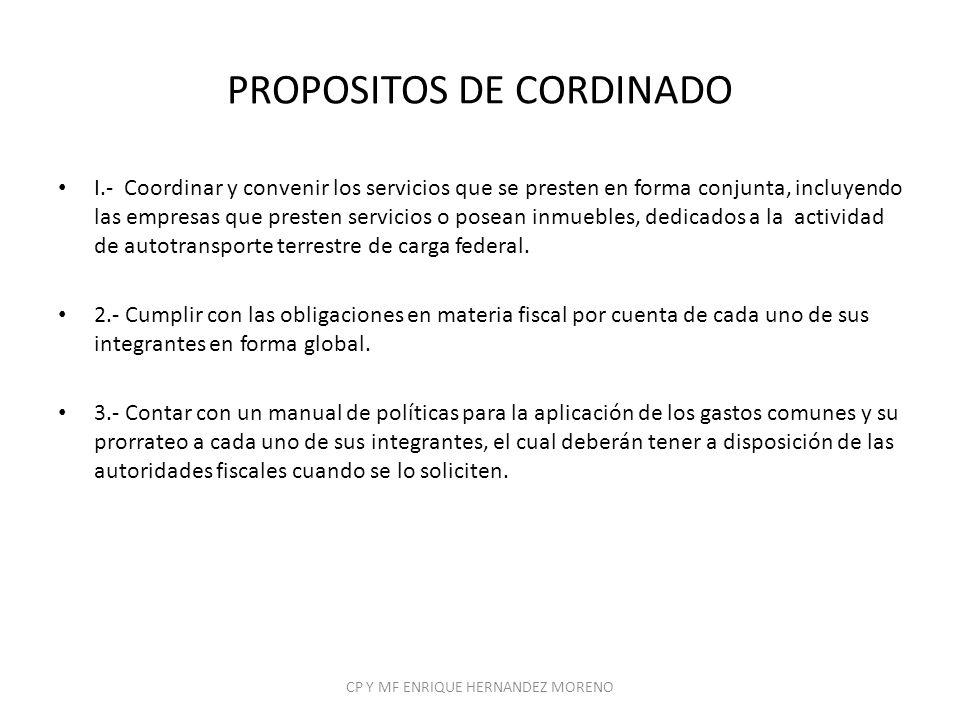 PROPOSITOS DE CORDINADO