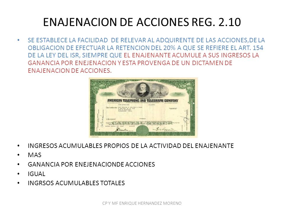 ENAJENACION DE ACCIONES REG. 2.10