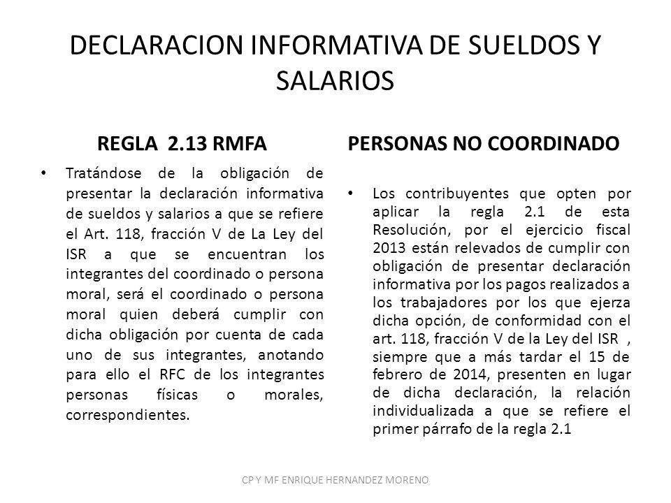 DECLARACION INFORMATIVA DE SUELDOS Y SALARIOS