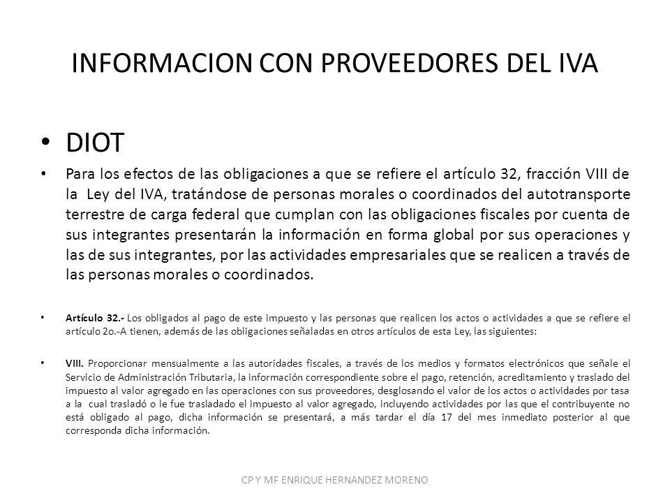 INFORMACION CON PROVEEDORES DEL IVA