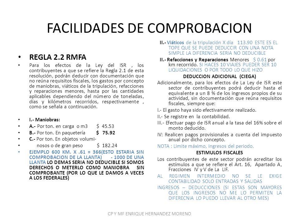 FACILIDADES DE COMPROBACION