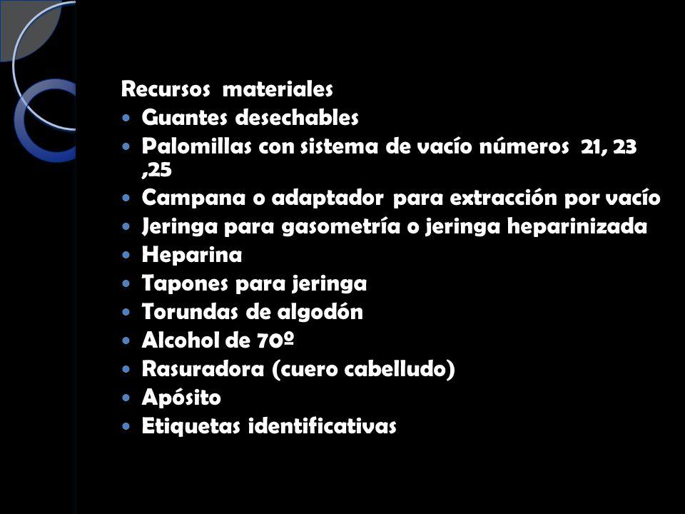 Recursos materiales Guantes desechables. Palomillas con sistema de vacío números 21, 23 ,25. Campana o adaptador para extracción por vacío.