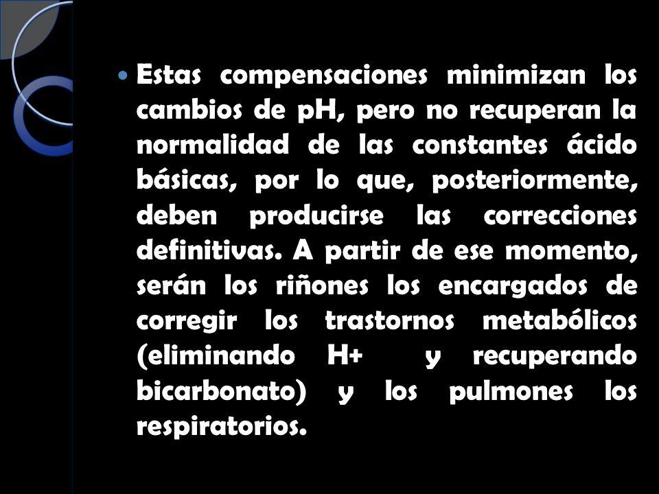 Estas compensaciones minimizan los cambios de pH, pero no recuperan la normalidad de las constantes ácido básicas, por lo que, posteriormente, deben producirse las correcciones definitivas.