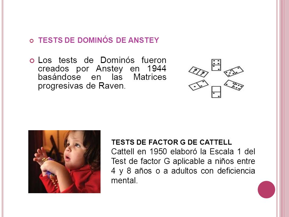 TESTS DE DOMINÓS DE ANSTEY