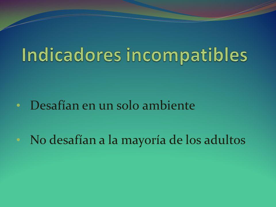 Indicadores incompatibles