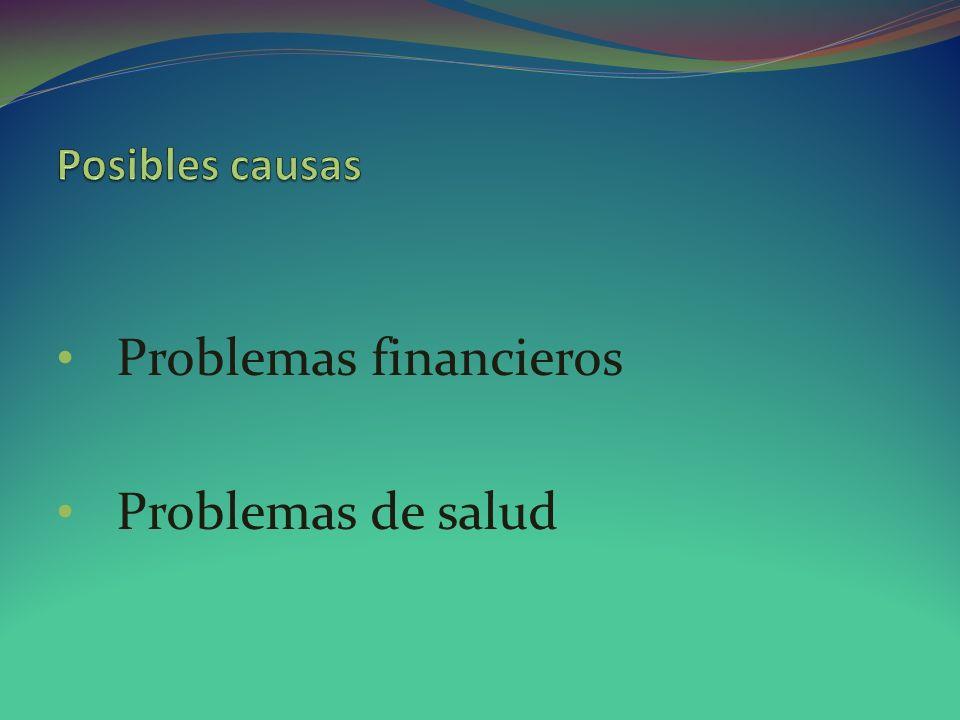 Problemas financieros Problemas de salud