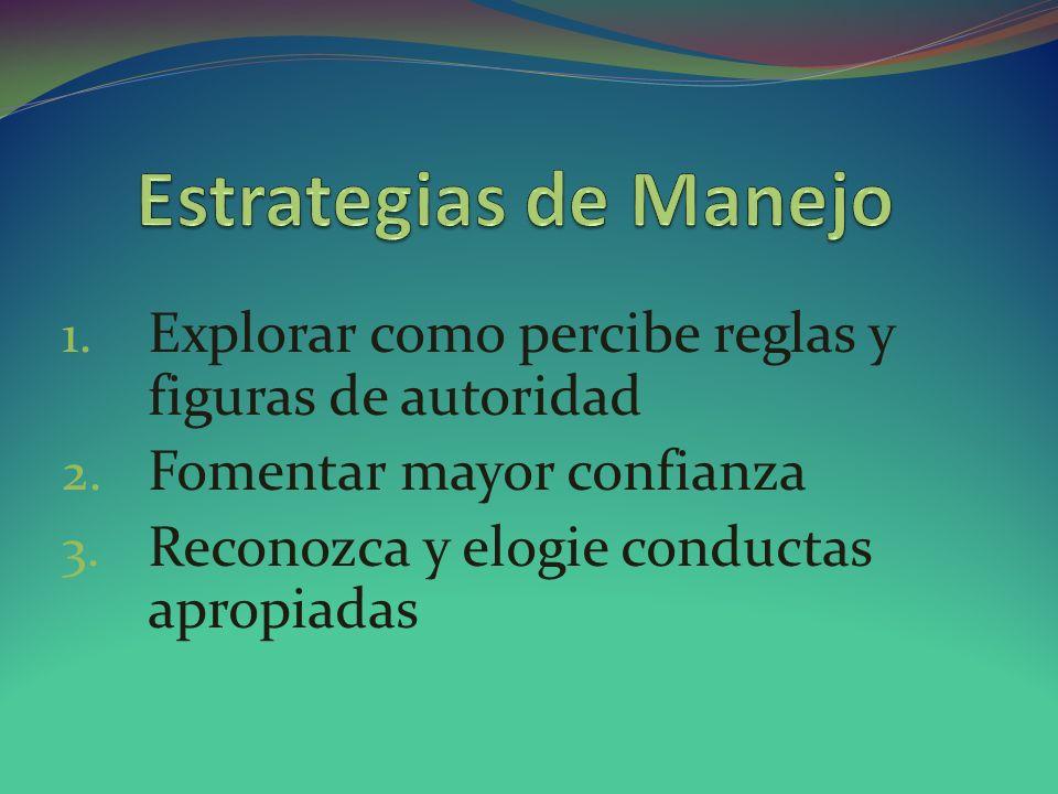 Estrategias de Manejo Explorar como percibe reglas y figuras de autoridad. Fomentar mayor confianza.