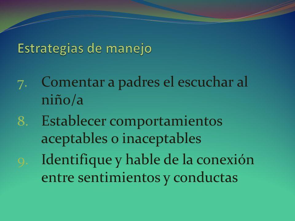 Estrategias de manejo Comentar a padres el escuchar al niño/a. Establecer comportamientos aceptables o inaceptables.