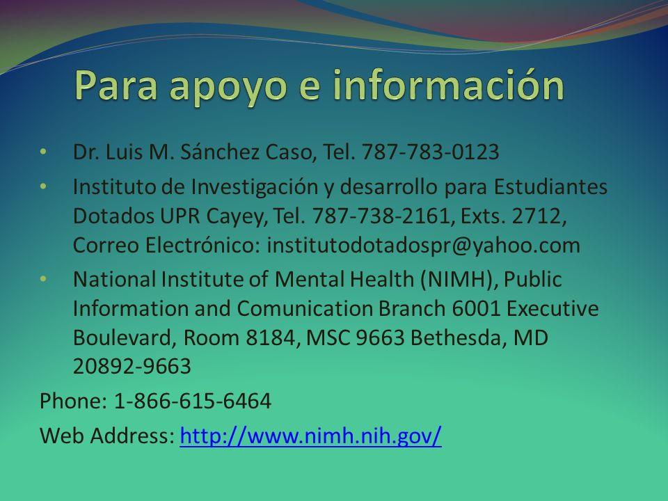 Para apoyo e información