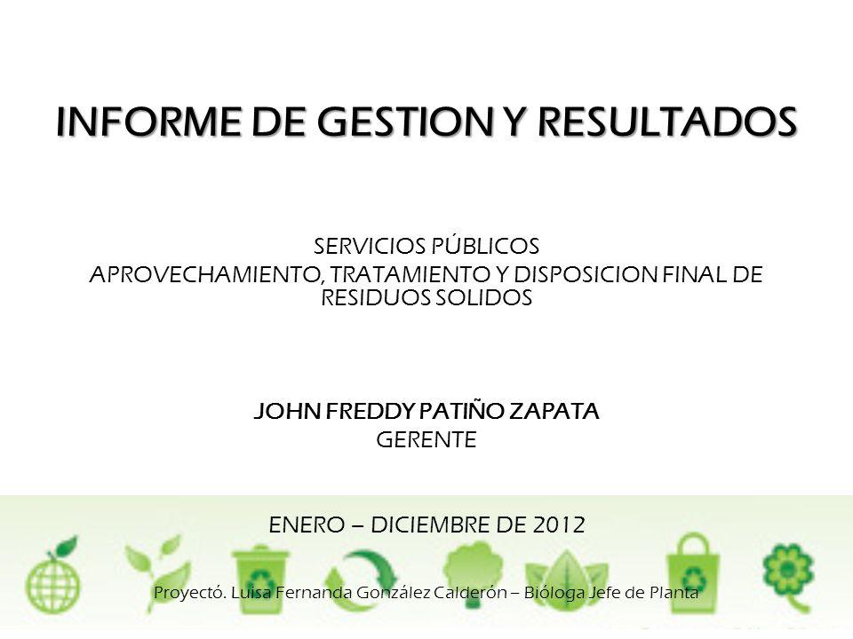 INFORME DE GESTION Y RESULTADOS JOHN FREDDY PATIÑO ZAPATA