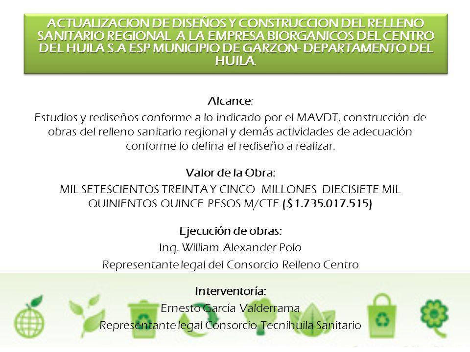 ACTUALIZACION DE DISEÑOS Y CONSTRUCCION DEL RELLENO SANITARIO REGIONAL A LA EMPRESA BIORGANICOS DEL CENTRO DEL HUILA S.A ESP MUNICIPIO DE GARZON- DEPARTAMENTO DEL HUILA.