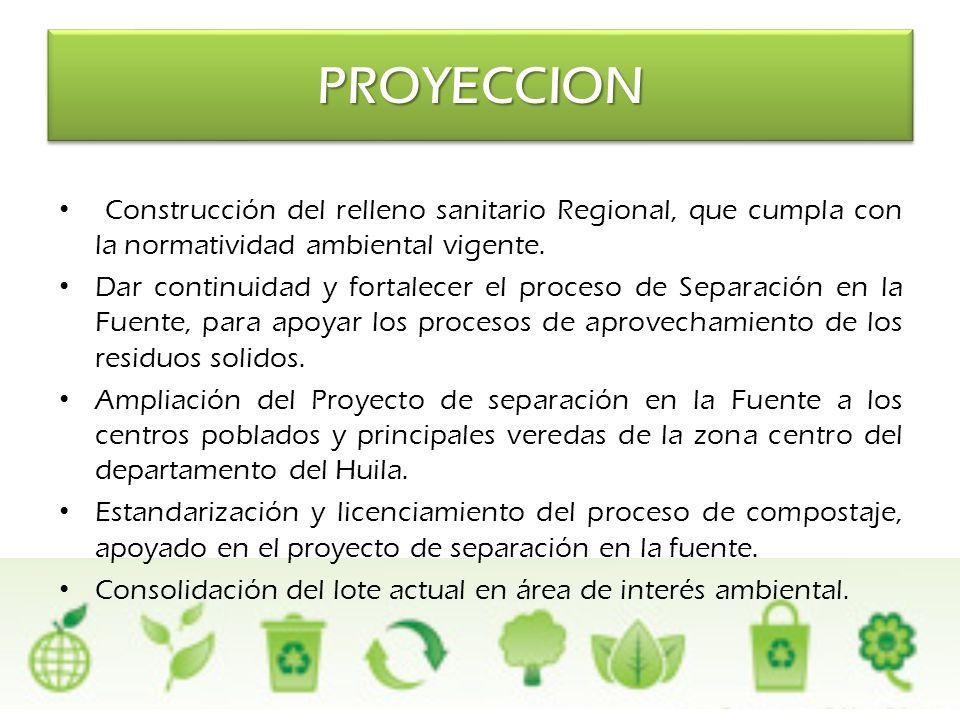 PROYECCION Construcción del relleno sanitario Regional, que cumpla con la normatividad ambiental vigente.