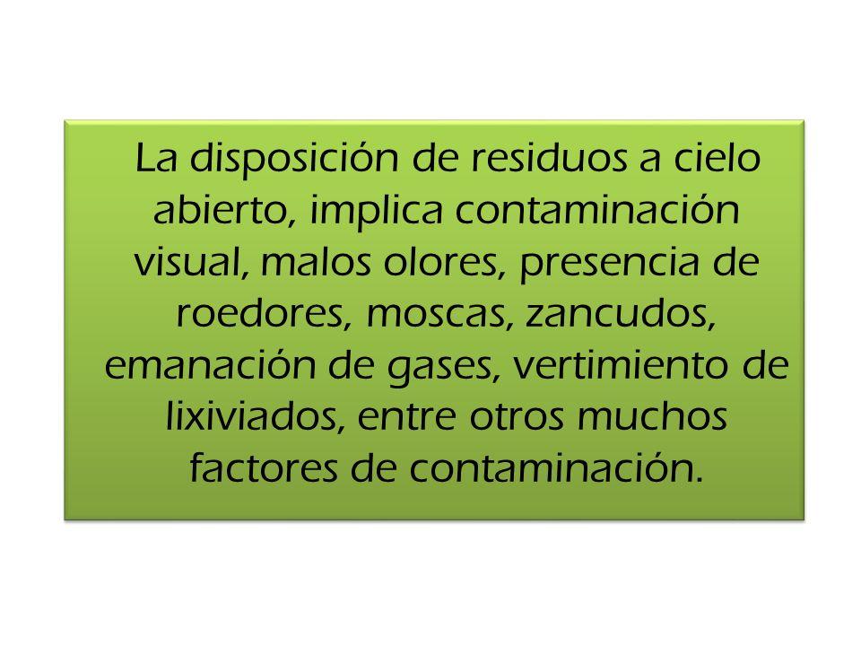 La disposición de residuos a cielo abierto, implica contaminación visual, malos olores, presencia de roedores, moscas, zancudos, emanación de gases, vertimiento de lixiviados, entre otros muchos factores de contaminación.