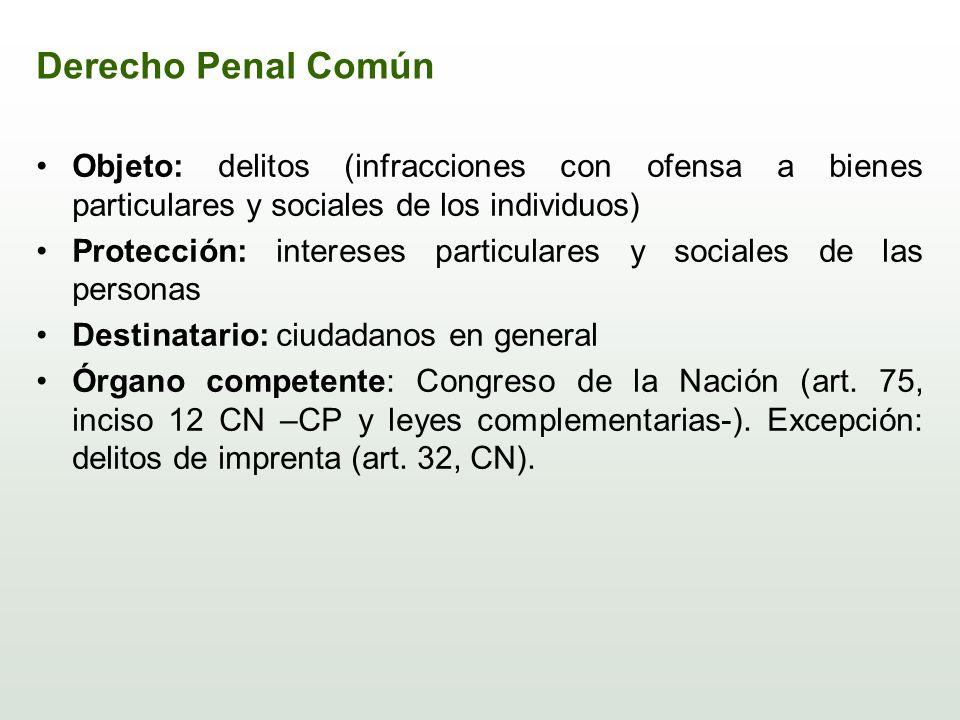 Derecho Penal Común Objeto: delitos (infracciones con ofensa a bienes particulares y sociales de los individuos)