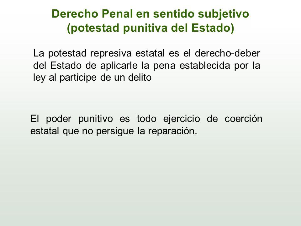 Derecho Penal en sentido subjetivo (potestad punitiva del Estado)