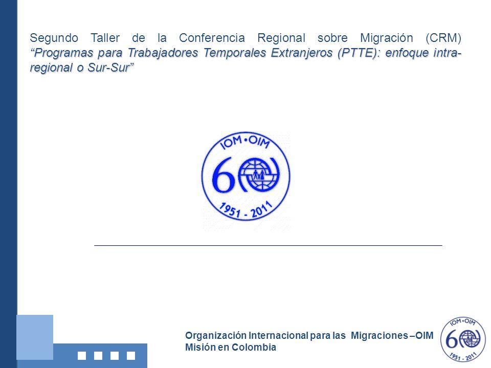 Segundo Taller de la Conferencia Regional sobre Migración (CRM) Programas para Trabajadores Temporales Extranjeros (PTTE): enfoque intra-regional o Sur-Sur