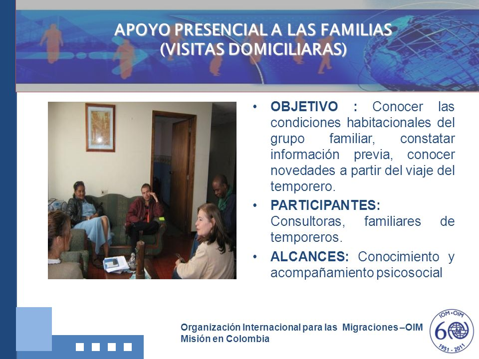 APOYO PRESENCIAL A LAS FAMILIAS (VISITAS DOMICILIARAS)