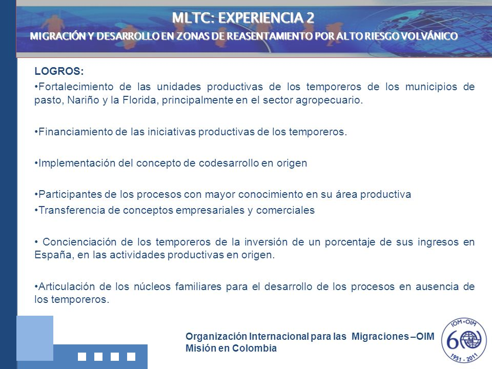 MLTC: EXPERIENCIA 2 LOGROS:
