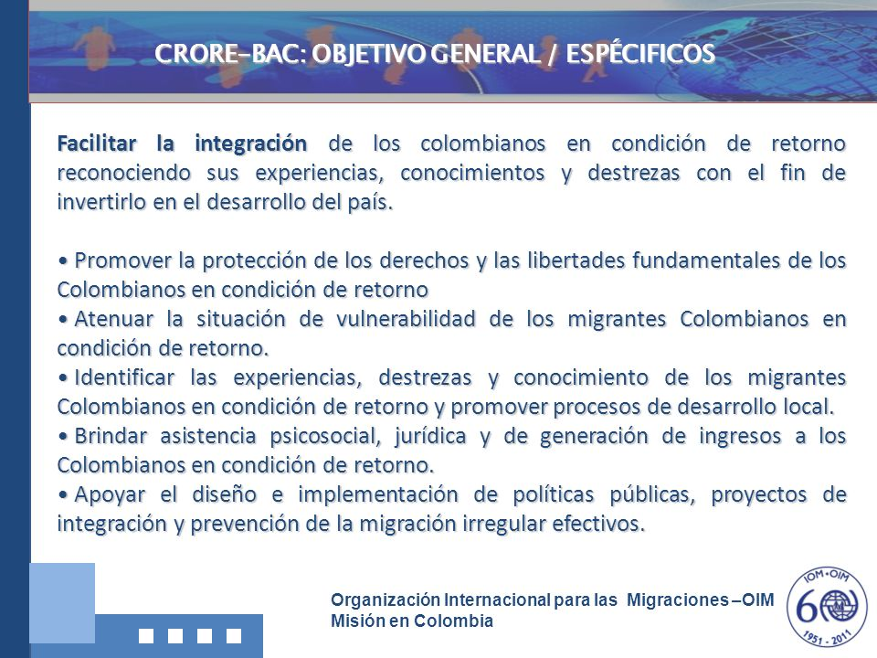 CRORE-BAC: OBJETIVO GENERAL / ESPÉCIFICOS