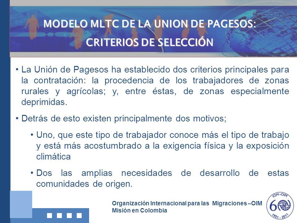 MODELO MLTC DE LA UNION DE PAGESOS: CRITERIOS DE SELECCIÓN