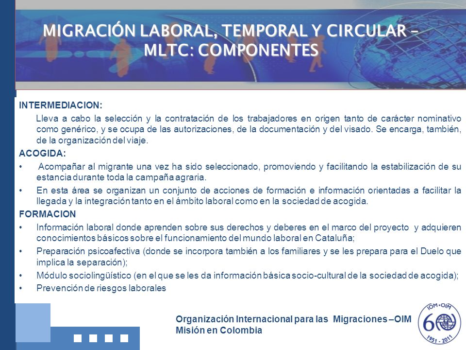 MIGRACIÓN LABORAL, TEMPORAL Y CIRCULAR – MLTC: COMPONENTES