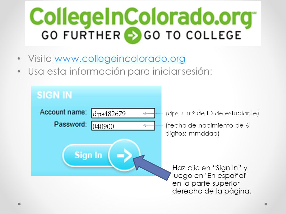 Visita www.collegeincolorado.org