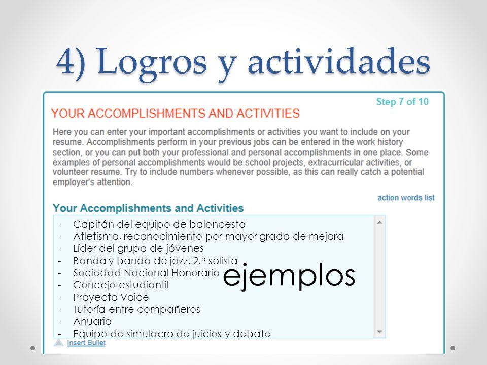 4) Logros y actividades ejemplos Capitán del equipo de baloncesto