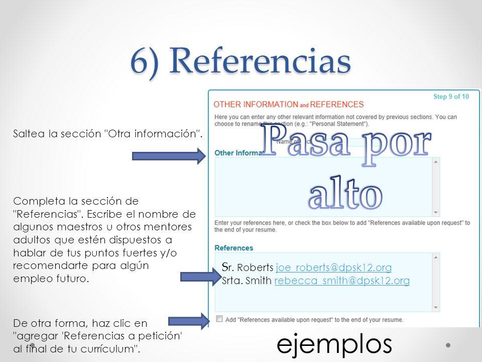 Pasa por alto 6) Referencias ejemplos