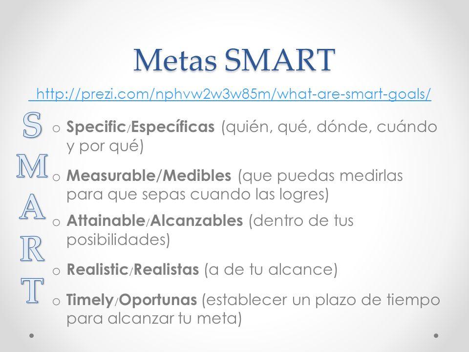 Metas SMART http://prezi.com/nphvw2w3w85m/what-are-smart-goals/ Specific/Específicas (quién, qué, dónde, cuándo y por qué)